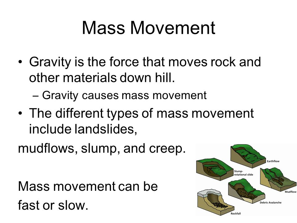 Mass Movement Gravity is the force that moves rock and other materials down hill. Gravity causes mass movement.