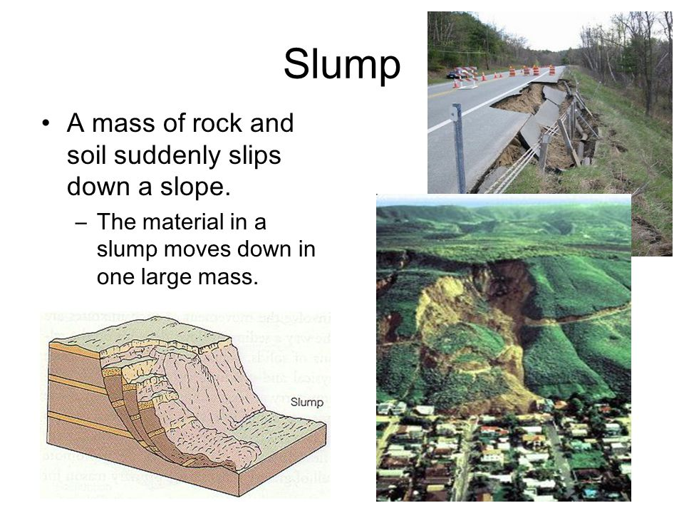 Slump A mass of rock and soil suddenly slips down a slope.