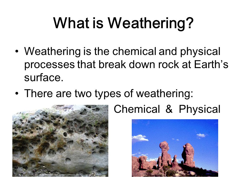 types of chemical weathering essay Erosion and weathering or otherwise degrade due to physical, chemical although all rock types have natural areas of weakness.