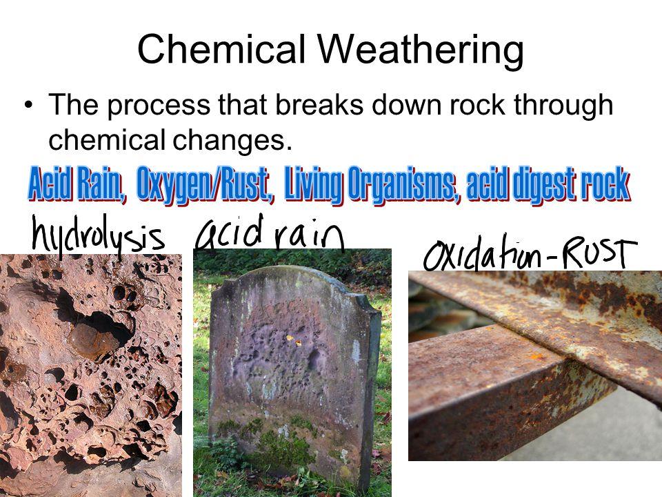Acid Rain, Oxygen/Rust, Living Organisms, acid digest rock