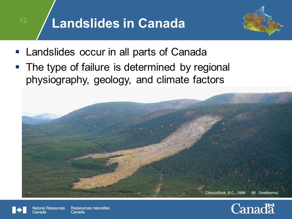 Landslides in Canada Landslides occur in all parts of Canada