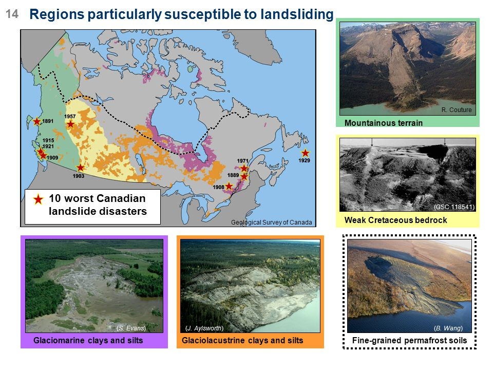 Regions particularly susceptible to landsliding
