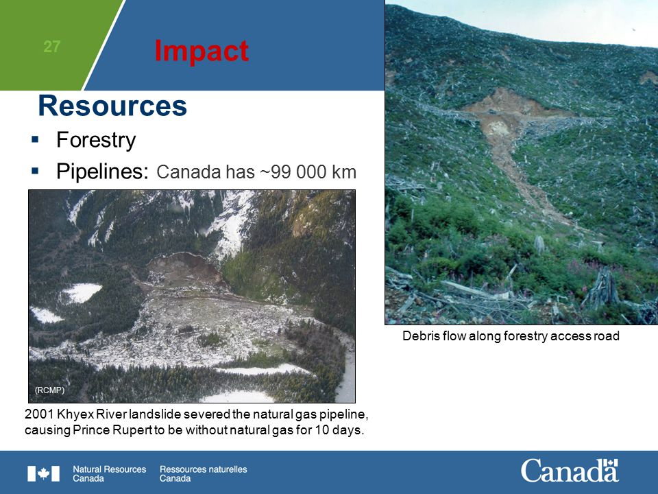 Impact Resources Forestry Pipelines: Canada has ~99 000 km