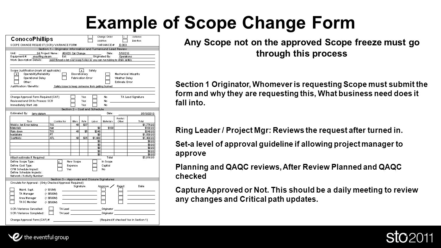 Example of Scope Change Form