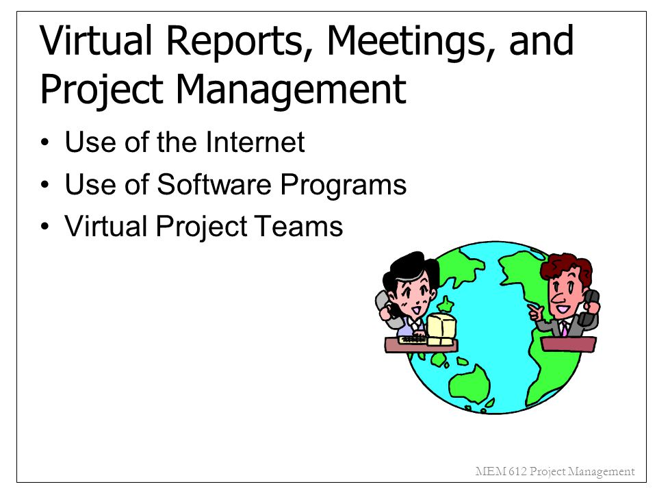 Virtual Reports, Meetings, and Project Management