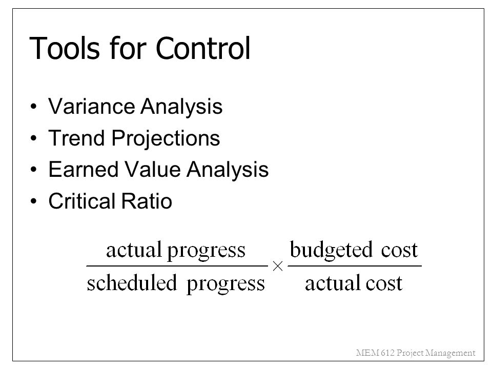 Tools for Control Variance Analysis Trend Projections