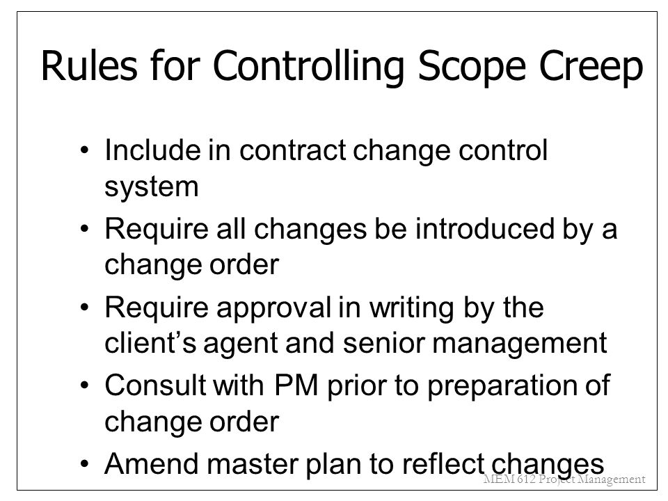 Rules for Controlling Scope Creep