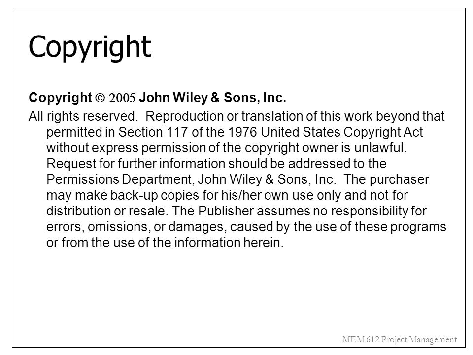 Copyright Copyright 2005John Wiley & Sons, Inc.