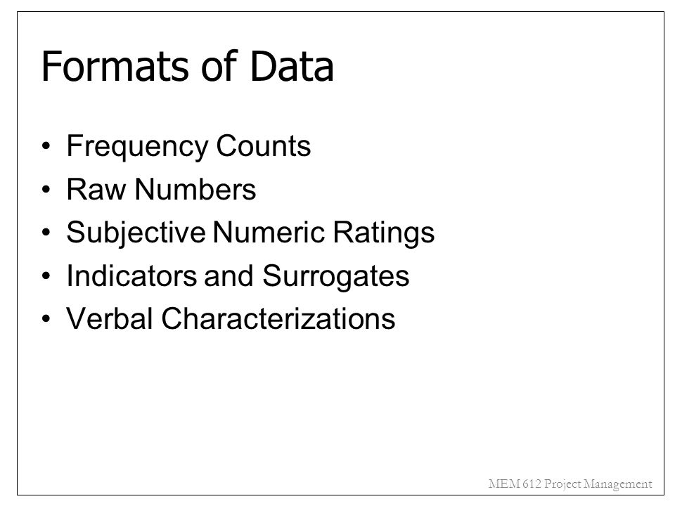 Formats of Data Frequency Counts Raw Numbers
