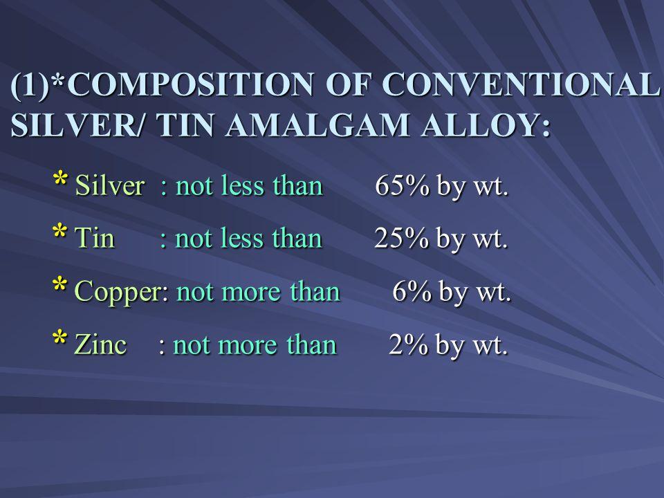 (1)*COMPOSITION OF CONVENTIONAL SILVER/ TIN AMALGAM ALLOY: