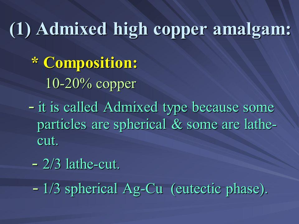 (1) Admixed high copper amalgam: