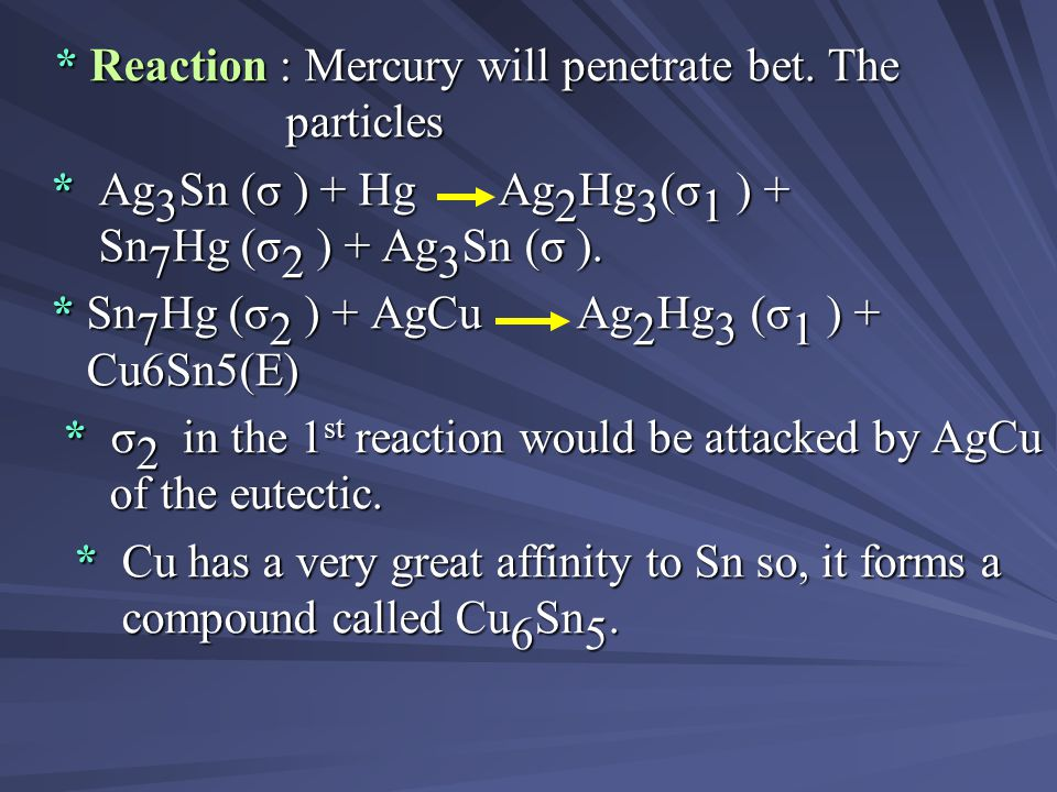 * Reaction : Mercury will penetrate bet. The particles