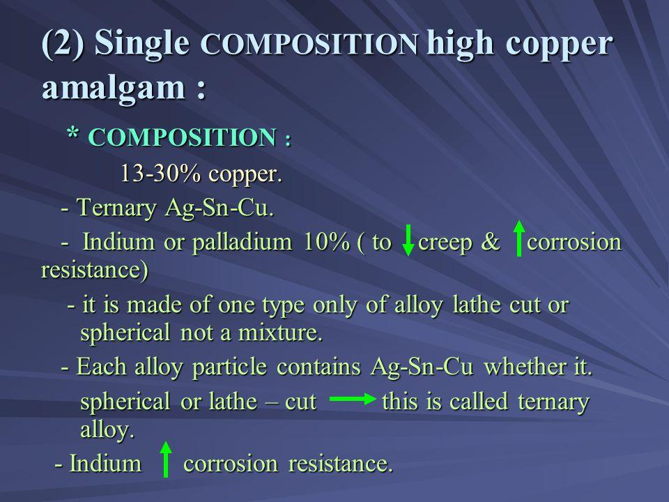(2) Single COMPOSITION high copper amalgam :