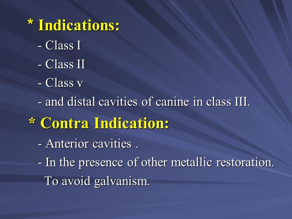 * Indications: - Class I - Class II - Class v