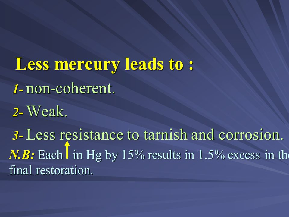 Less mercury leads to : 1- non-coherent. 2- Weak. 3- Less resistance to tarnish and corrosion.