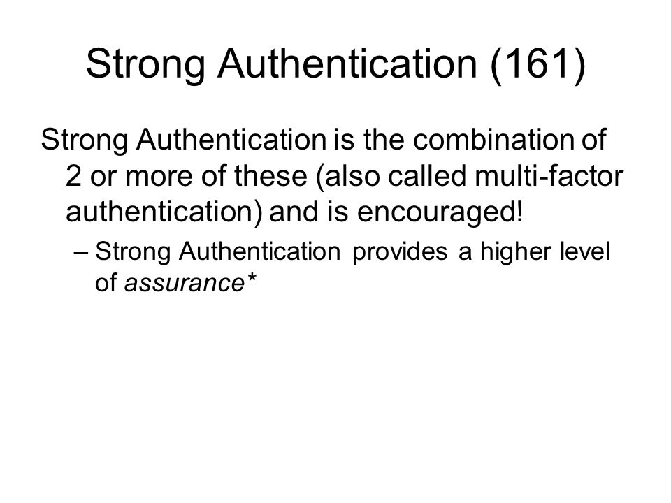 Strong Authentication (161)