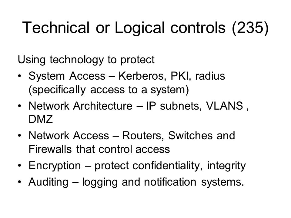 Technical or Logical controls (235)