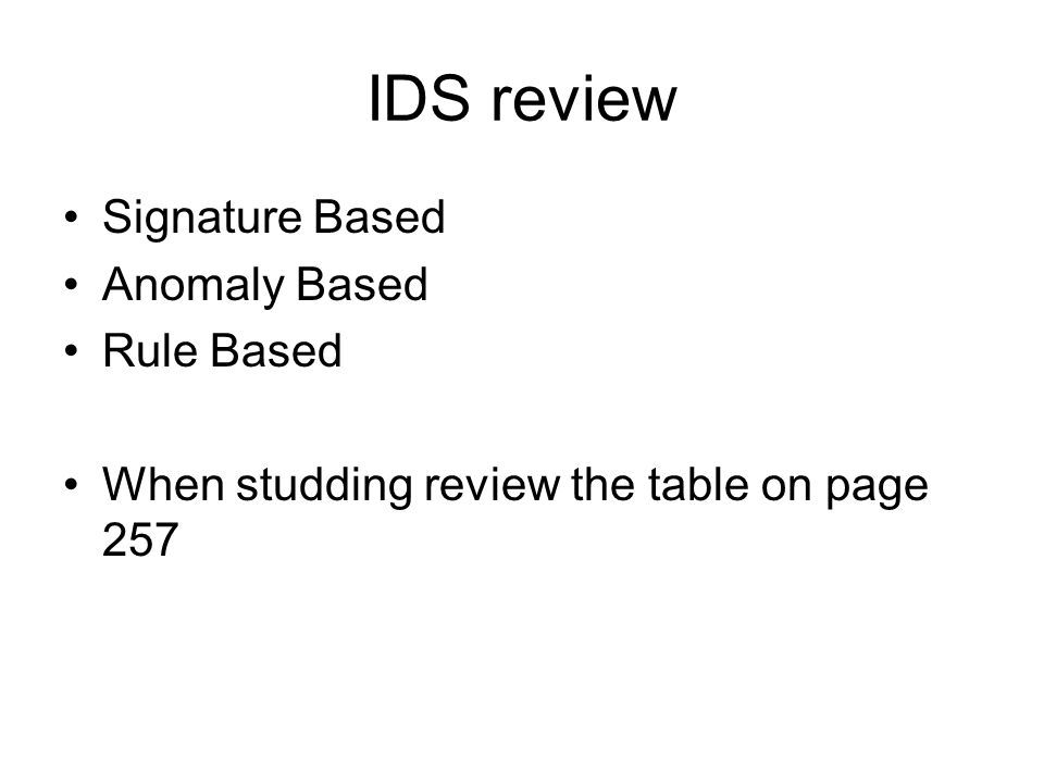 IDS review Signature Based Anomaly Based Rule Based