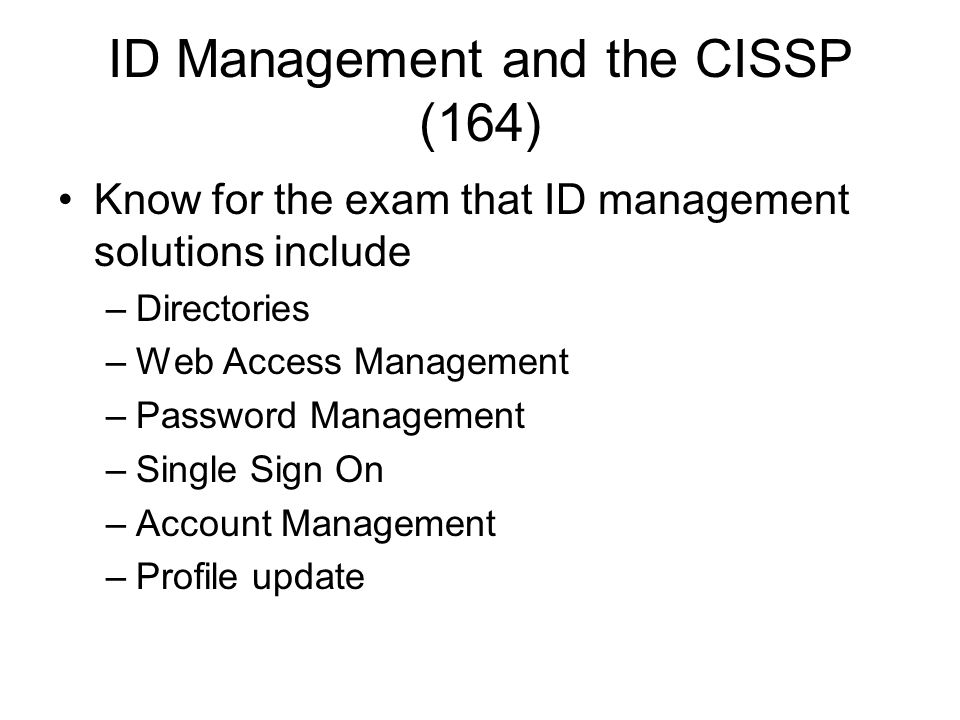 ID Management and the CISSP (164)