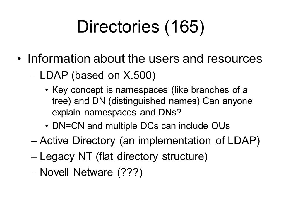 Directories (165) Information about the users and resources