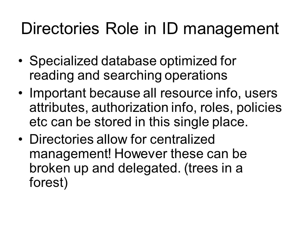 Directories Role in ID management