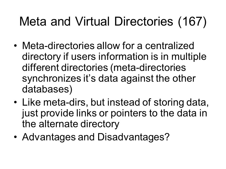 Meta and Virtual Directories (167)