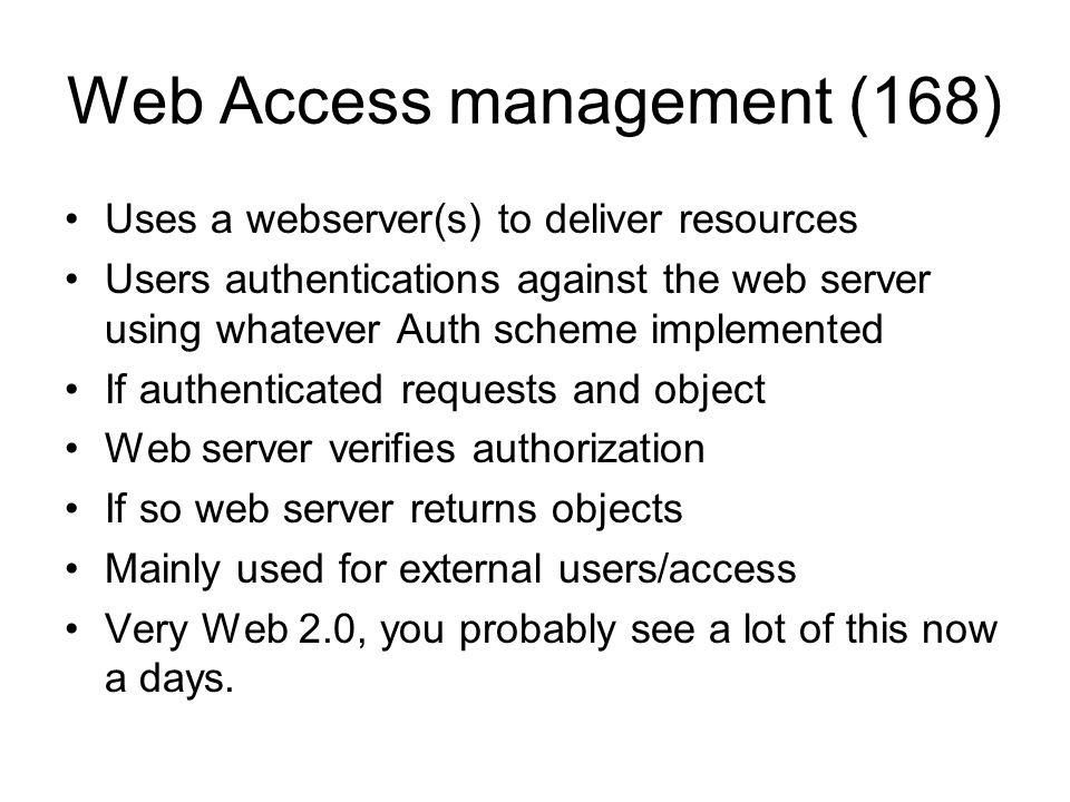 Web Access management (168)