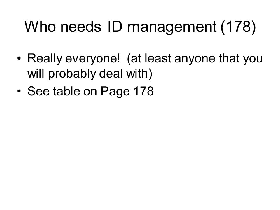 Who needs ID management (178)