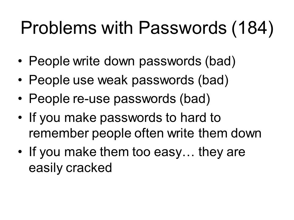 Problems with Passwords (184)