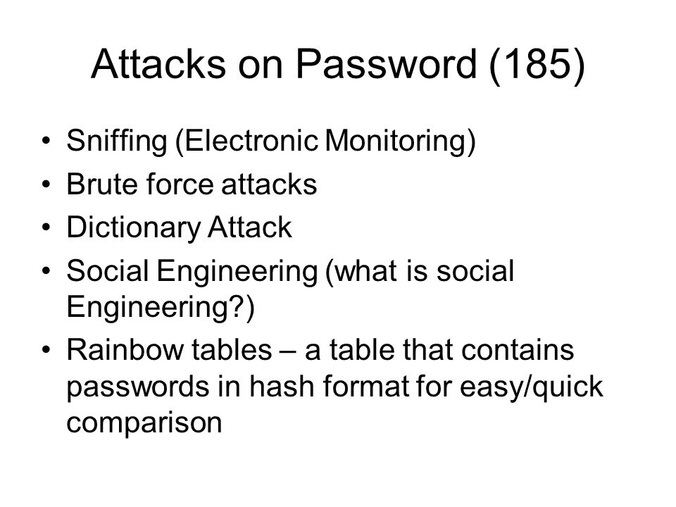 Attacks on Password (185) Sniffing (Electronic Monitoring)