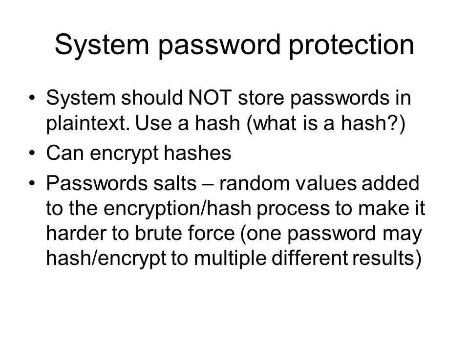 System password protection