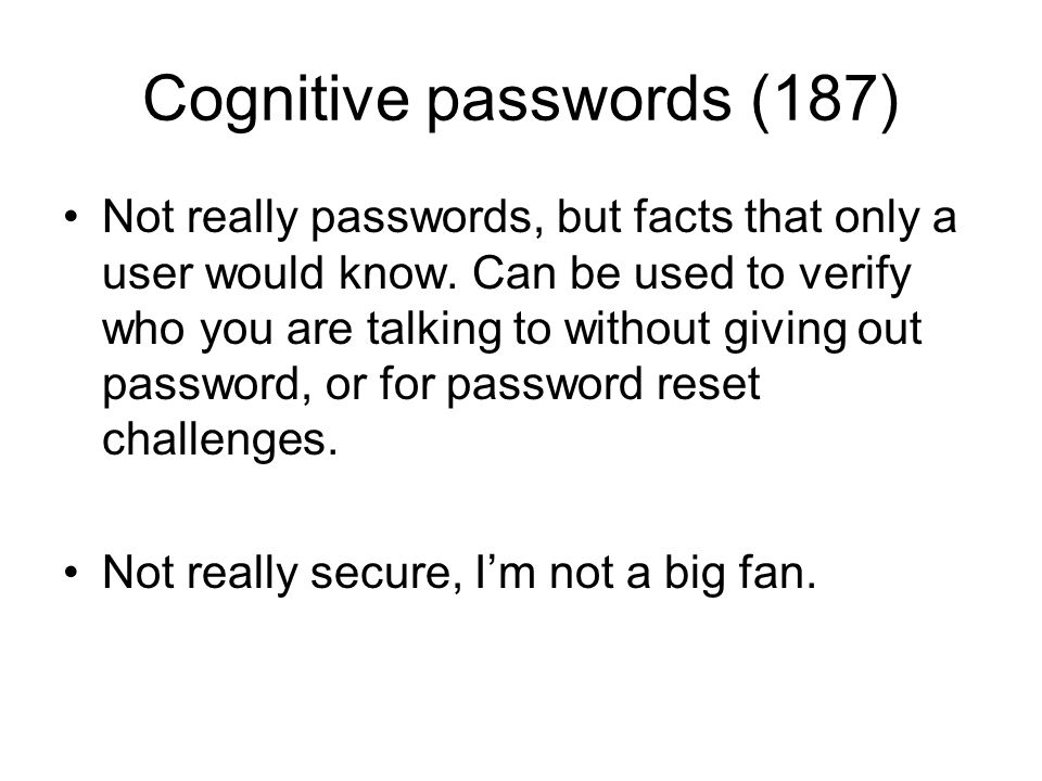 Cognitive passwords (187)