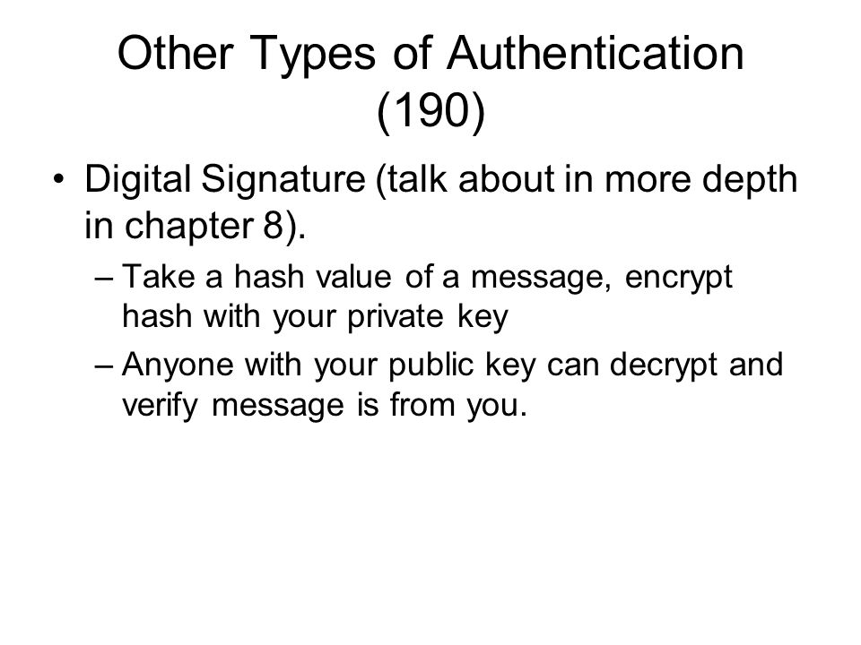 Other Types of Authentication (190)