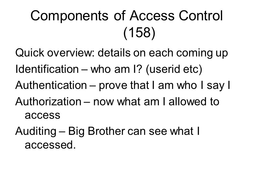 Components of Access Control (158)