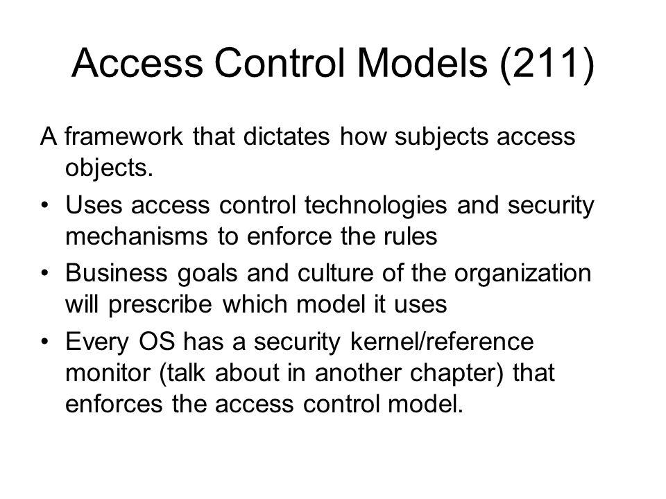Access Control Models (211)