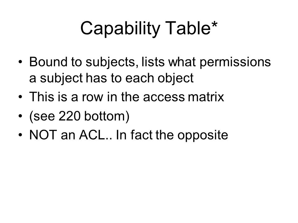 Capability Table* Bound to subjects, lists what permissions a subject has to each object. This is a row in the access matrix.
