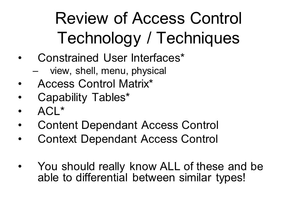 Review of Access Control Technology / Techniques