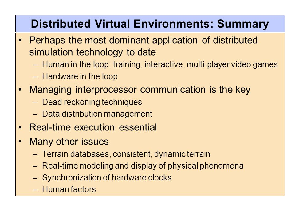 Distributed Virtual Environments: Summary