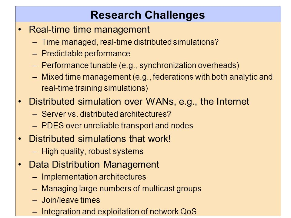 Research Challenges Real-time time management