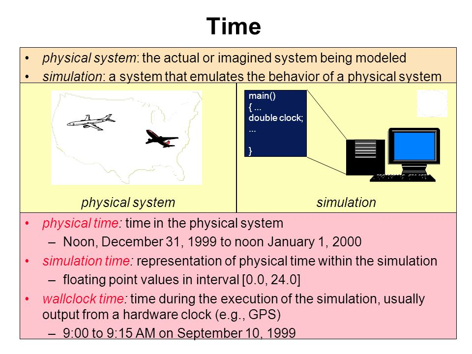 Time physical system. physical system: the actual or imagined system being modeled.
