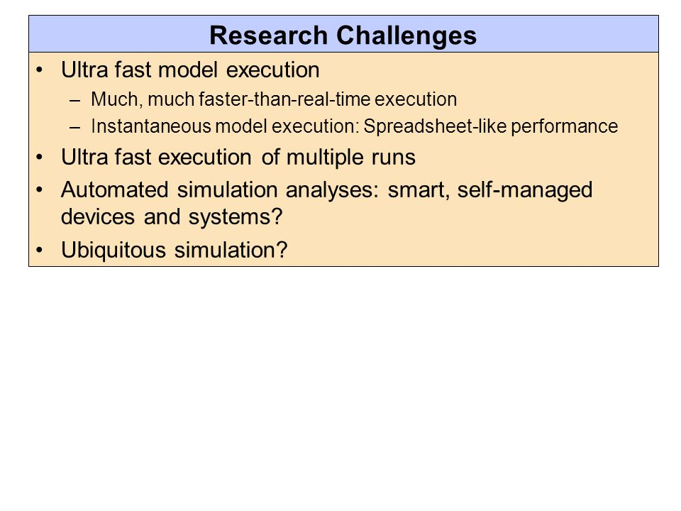 Research Challenges Ultra fast model execution