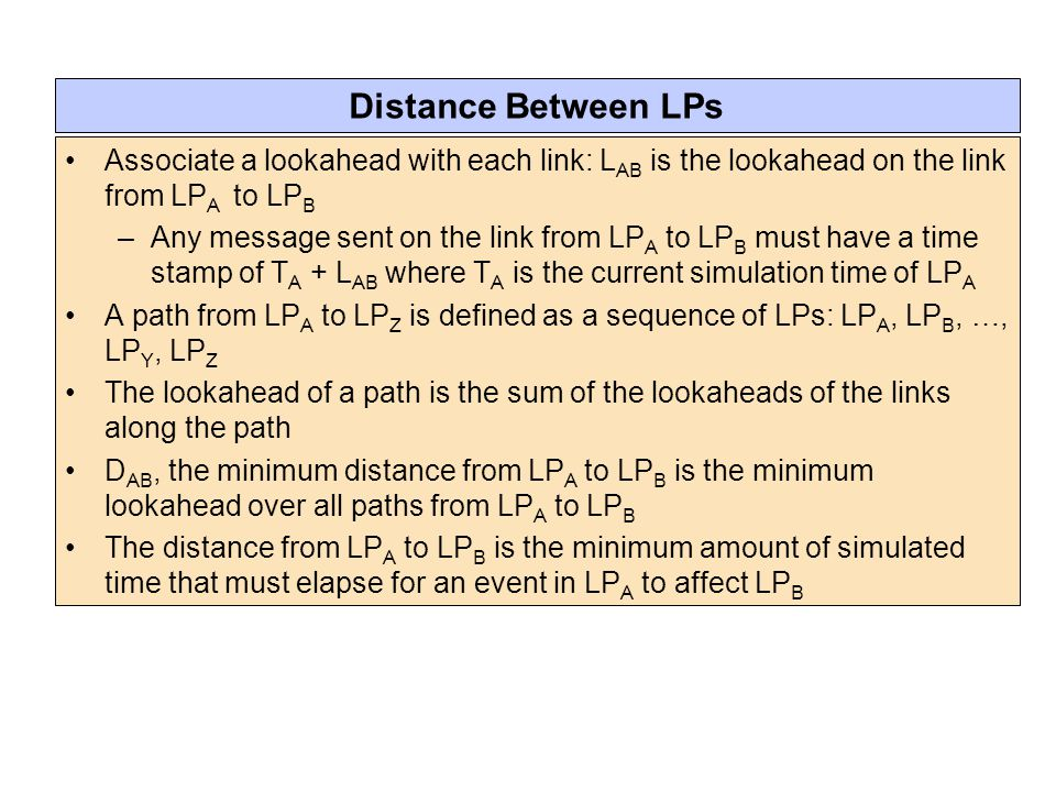 Distance Between LPs Associate a lookahead with each link: LAB is the lookahead on the link from LPA to LPB.