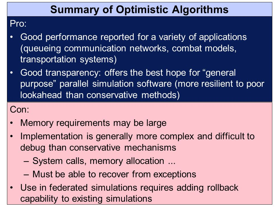 Summary of Optimistic Algorithms