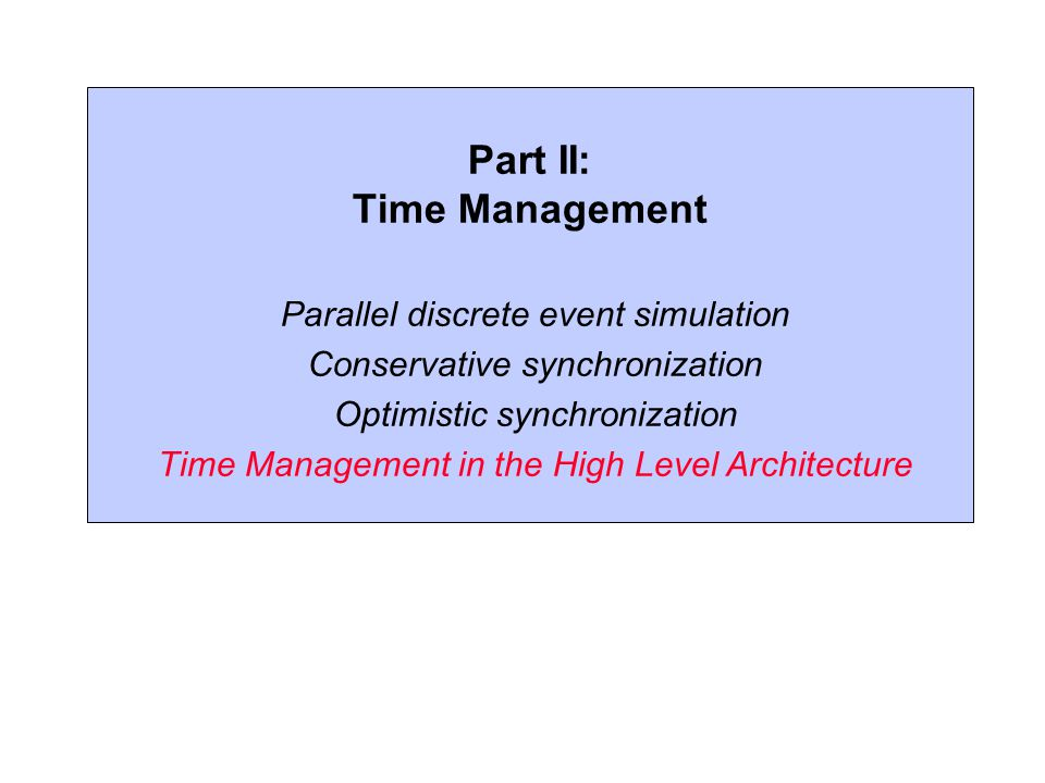 Part II: Time Management