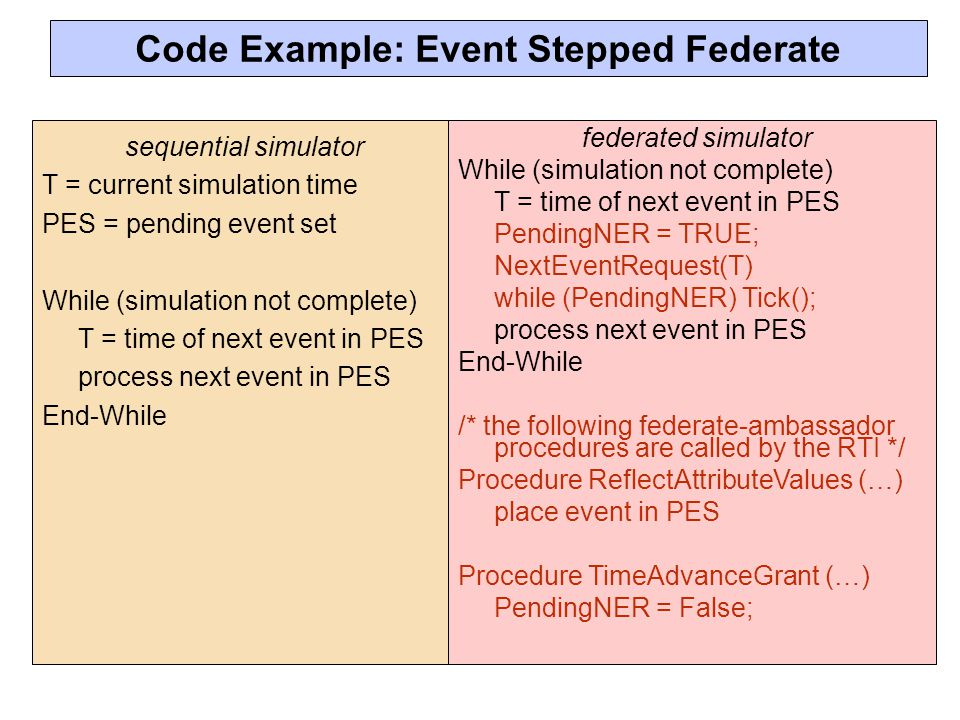 Code Example: Event Stepped Federate
