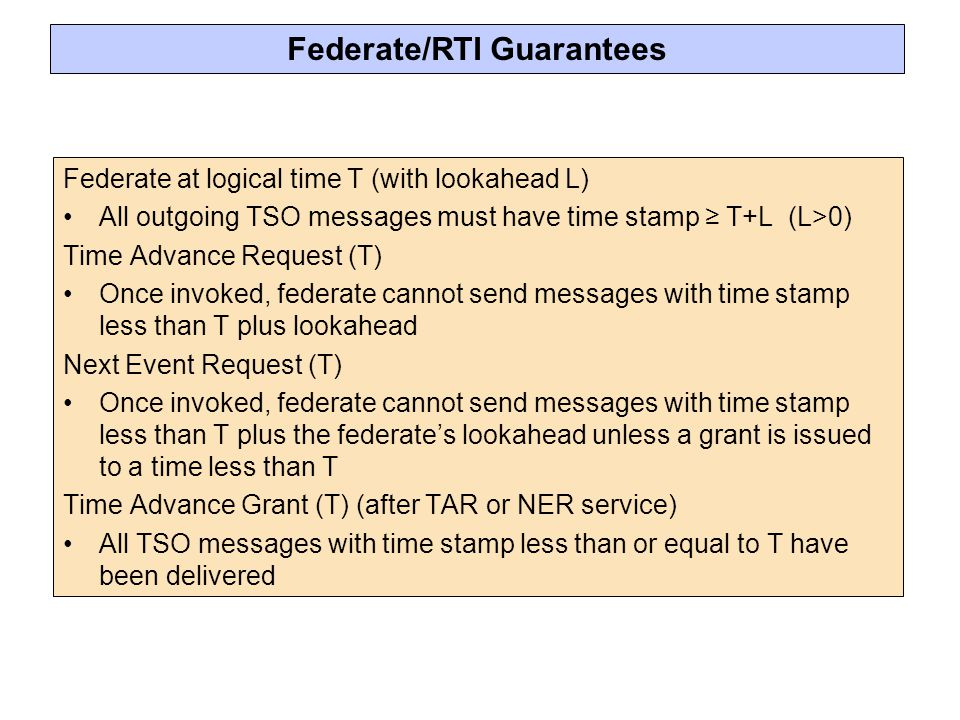 Federate/RTI Guarantees