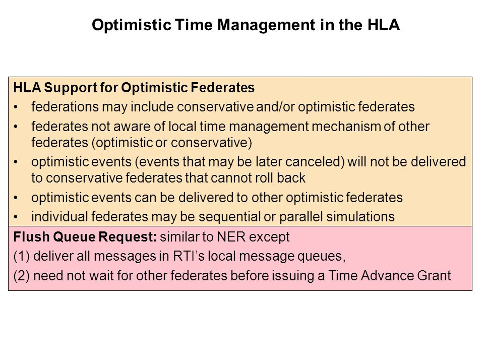 Optimistic Time Management in the HLA