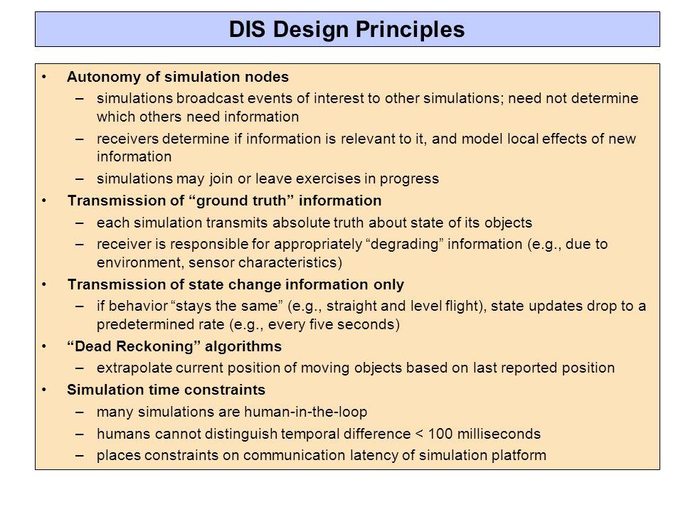 DIS Design Principles Autonomy of simulation nodes