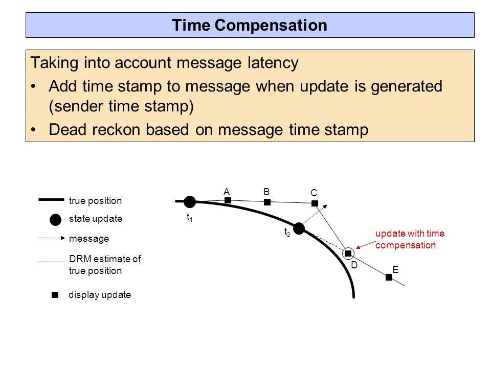 Taking into account message latency