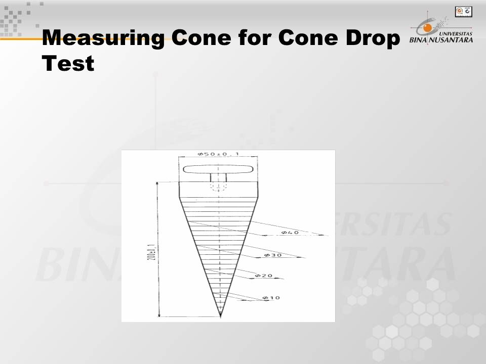 Measuring Cone for Cone Drop Test